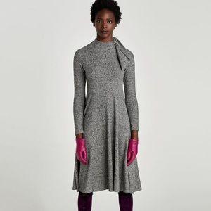 NWT Zara Gray Knit Dress with Bow Neck